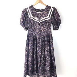 Vintage Gunne Sax Purple Floral Prairie Dress -S